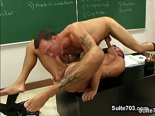 Naughty Gay Suck Teachers Big Phallus In Classroom