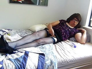 Bobbie Stroking In Navy Nylons