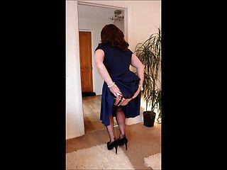 Blue Skater Dress & Black Lingerie