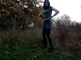 Sandralein33 Smoking Emo Girl In Miniskirt And Lackleggins