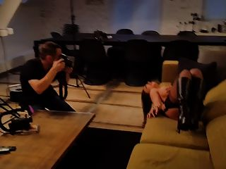 All In Leather Teasing The Cameraman During Photoshoot