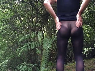 Outdoors In Pantyhose