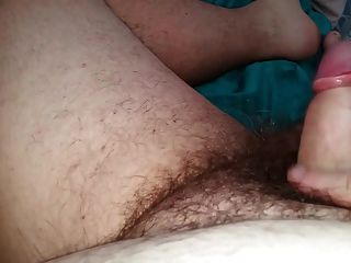 Checking Out Her Hairy Asshole As She Plays With My Uncut