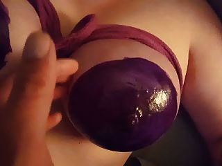 Tits Tied And Painted With Liquid Latex