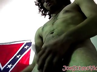 Handsome Dude With Curly Black Hair Jerking Off His Big Cock