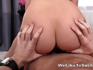 Gorgeous Brunette Cutie Sucks A Big Dick