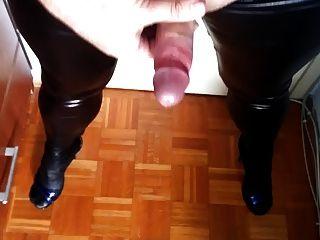 Another Cumshot In Wet Looking Leggins And Heels