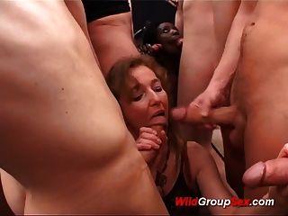 Wild German Ebony Babe Loves Hard Gangbang Bukkake Orgy