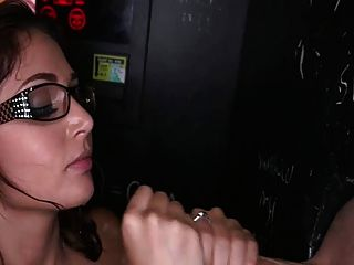 Sexy Nerd Milking Cocks At Glory Hole