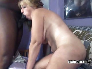 Blonde Milf Liisa Is Giving An Interracial Blowjob