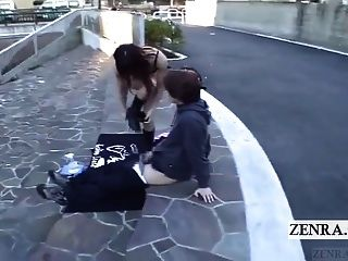 Subtitled Extreme Japanese Public Nudity Outdoor Blowjob