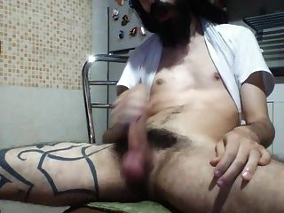 Str8 Hairy Guy Stroke In The Kitchen