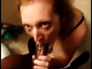 Blonde Mom Sucking Off Black Guy In The Bathroom