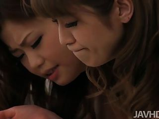 Horny Japanese Idol Nao And A Friend Take Turns Sucking