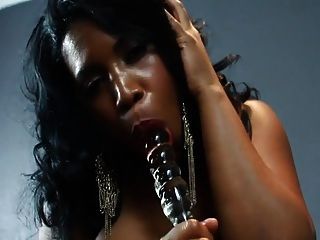 Big Tit Ebony In Fetish Outfit Plays