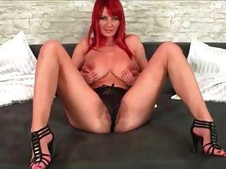 Redhead Vanessa Dildoing Hairy Pussy