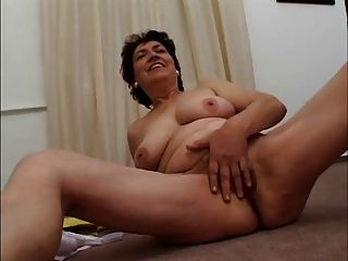 Chubby Mature Masturbates With Banana