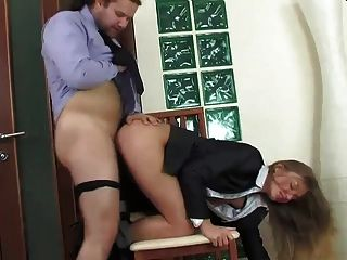 Female Co-worker Getting Her Ass Crammed Hard