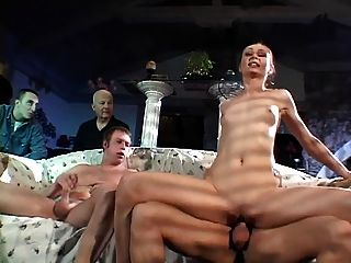 Brunette Babe Is Fucked By Two White Males As Two Others Look On
