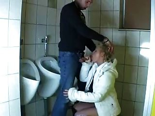 Young Guy Fucks A Mature In A Public Bathroom