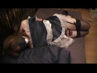 Maid Crossdresser Tied, Teased, And Made To Blow