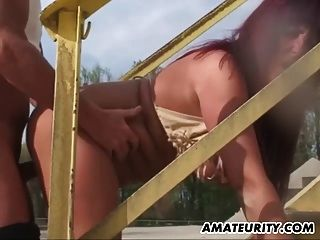 Busty Amateur Milf Outdoor Action With Cum In Mouth