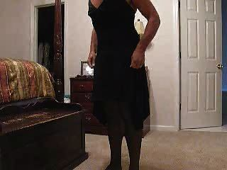 Jerkin Off - Wearing Wifes Lbd And Panties