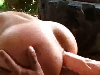 Redhead With A Dildo Fucked Outside
