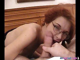 Babe With Glasses Enjoying Cock Juice