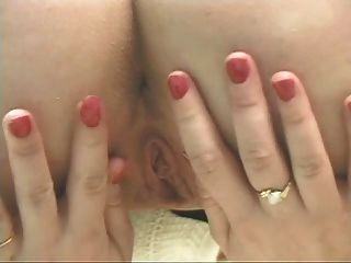 Girl Bends Over, Then Spreads Ass Wide Open With Fingers