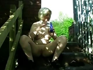 Fat Chubby Blonde Ex Gf  Masturbating Her Pussy Outdoors