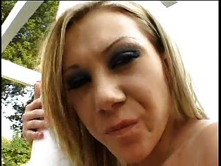 Blonde Slut Gets Blindfolded And Has Her Ass Spanked Outside