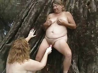 Old Lesbians Having Fun Outdoor