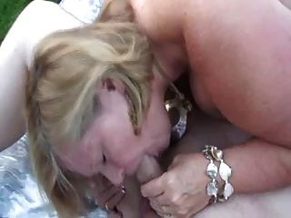Chubby Blonde Mature Nailed In The Backyard