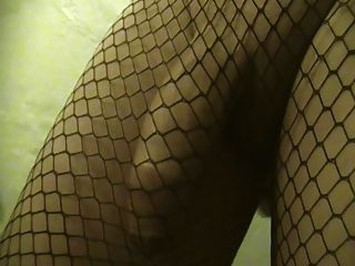 Prostate Massage. Precum And Cum-shot In Black Net Thights