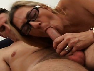 Mature Blonde With Young Boy. She Love Suck