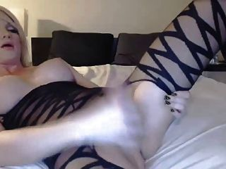 Tranny With Nice Tits Strokes Her Cock On Cam
