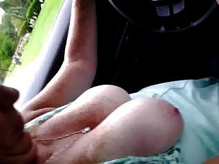 Short Vid  Wife Driving Around Town With Tits Out