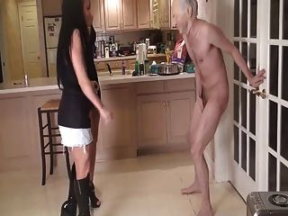 Two Young Mistresses Kick Old Guys Balls