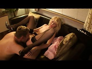 Blond German Milf - Fucks Her Visit And Cum On Her Nylons