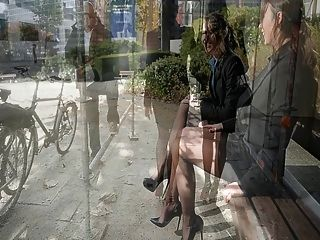 2 Lesbian Secretarysluts In Public Showing Upskirt Stockings