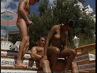 Ebony Goddess Rosanna Threesome By The Pool