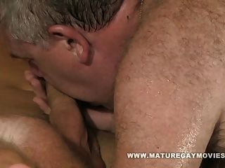 Two Young Guys Fuck A Chubby Hairy Daddy