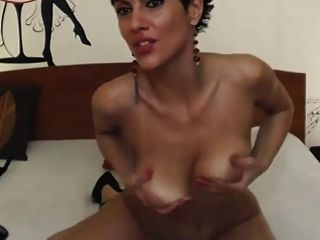 Short Haired Brunette Rides Dildo On Cam