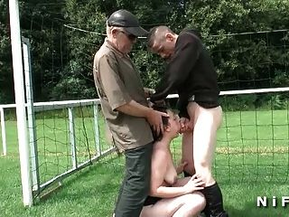 French Cougard Anal Fucked In Threesome In A Public Area