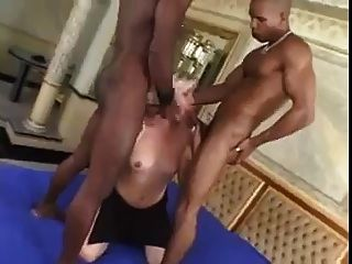 2 Big Black Cocks Fucking Blonde Shemale