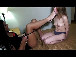 Lesbian Mistress Play With Girl Feet Slave