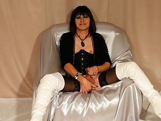 Sexy Tilf In Boots Stroking Cock