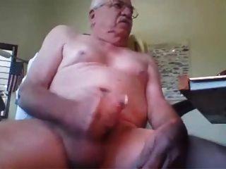 Horny Mustache Grandpa Masturbate Hard Cock