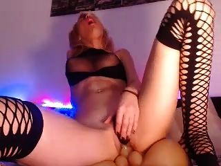 Hot Blonde Riding Whie Vibrating Her Vagina